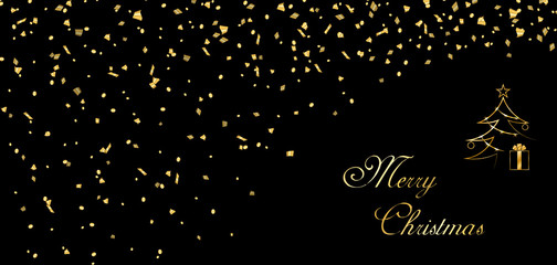 Merry Christmas background. Gold abstract template confetti for card, greeting, Xmas tree, celebrate banner. Light sparkle. Happy New Year celebration design. Golden decoration Vector illustration