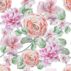 Seamless pattern with flowers. Alstroemeria. Rose. Watercolor illustration.