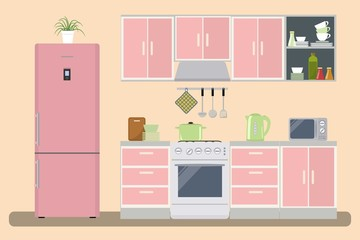 Kitchen in a pink color. There is a kitchen furniture, a refrigerator, a microwave, a kettle and other objects in the picture. Vector flat illustration
