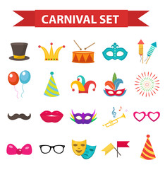 Party icons, design element, flat style. Carnival accessories, props, isolated on white background. Masquerade Collection. Vector illustration, clip art