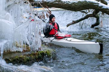 winter kayaking on the river in Ukraine 03