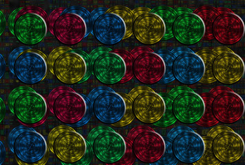 Multicolor fractal background with crossing circles and ovals. disco lights on black background