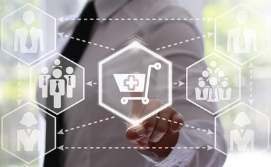businessman presses shopping cart button with a plus. Businesswoman touching icon trolley with a plus on touch screen. Business, buy concept. hexagon. add to shopping, online store, shop, purchase.