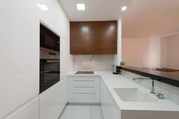 Interior of a modern white kitchen