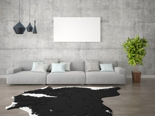Mock up poster creative living room with a stylish sofa on hipster background.