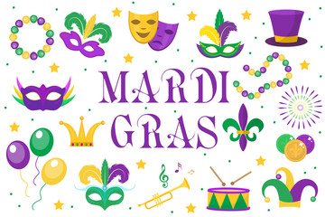 Mardi Gras carnival set  icons, design element , flat style. Collection Mardi Gras, mask with feathers, beads, joker, fleur de lis, comedy and tragedy, party decorations. Vector illustration, clip art Wall mural