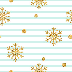 Christmas gold snowflake seamless pattern. Golden glitter snowflakes on blue and white lines background. Winter snow design wallpaper. Symbol holiday, New Year celebration Vector illustration