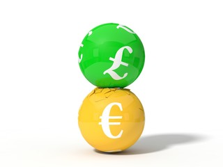 3d illustration of crashing pound and euro currency balls.