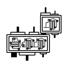 circuit board electronic componet linear vector illustration eps 10