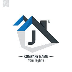 Initial Letter J With Roof Design Logo