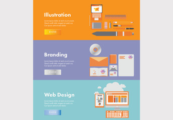 3 Illustrated Web Banners for Creative Professionals