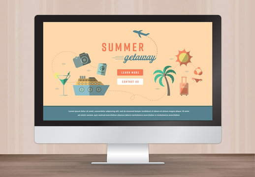 Illustrated Summer Travel Web Landing Page Layout