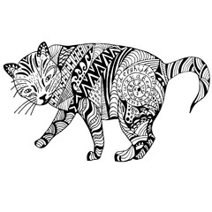 Cat Hand drawn sketched vector illustration. Doodle graphic with ornate pattern. Design Isolated on white.