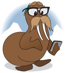 Nerd Cartoon Walrus is checking his computations
