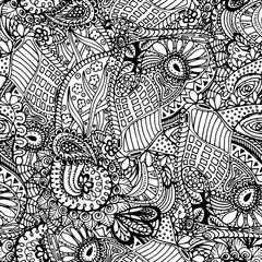 Coloring book page design with seamless pattern. Mandala ethnic ornament. Isolated vector illustration in zentangle style.