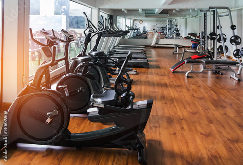 Rows Of Stationary Bike And Health Exercise Equipment For