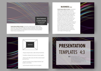 Set of business templates for presentation slides. Easy editable layouts, vector illustration. Abstract waves, lines and curves. Dark color background. Motion design.