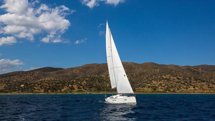Luxury yacht at Sea. Cruise yachting. Sailing regatta.