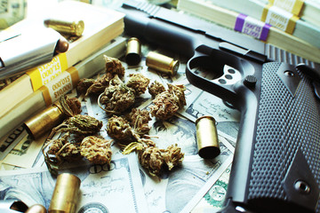 Marijuana With Guns, Money & Bullets High Quality Stock Photo