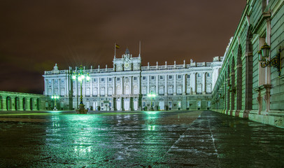 night view of the royal palace in madrid