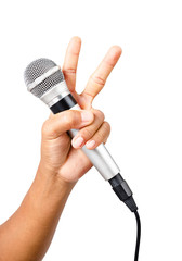 Man hand with microphone.