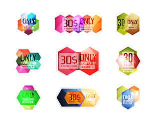 Vector abstract geometric sale labels