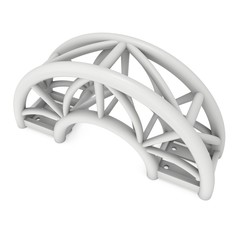 Steel truss arc girder element. 3d render isolated on white