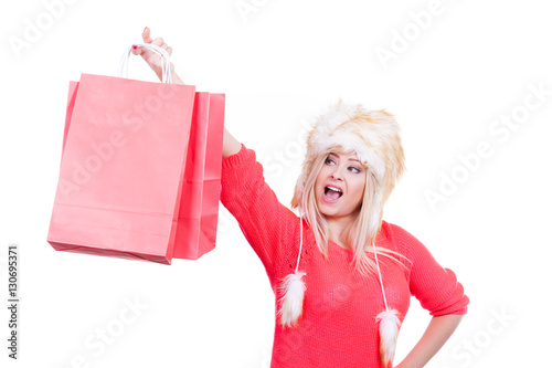 Cool Two Young Women Wearing Red Dress With Shopping Bagsquot Stock Photo