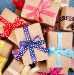 Wrapped gifts with colorful ribbons for Christmas or other celebration