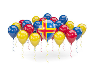Flag of aland islands with balloons