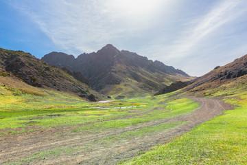 light summer at Guruan Saikhan National Park via Dalanzadgad city in Mongolia in May 2016