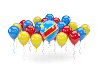 Flag of democratic republic of the congo with balloons