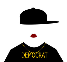 woman wearing hip hop fashion and democrat necklace