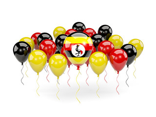 Flag of uganda with balloons