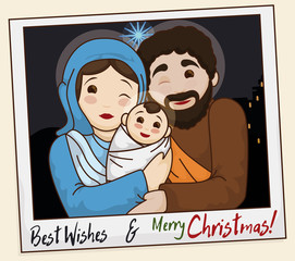 Picture of the Holy Family Wishing You a Merry Christmas, Vector Illustration