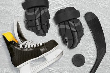 Hockey accessories closeup on the ice