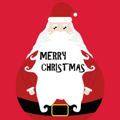 vector illustration of cute cartoon santa claus and merry christmas