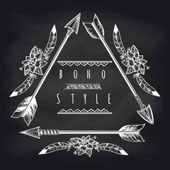 Boho style triangle frame from drawing arrows and feathers on blackboard background. Vector illustration