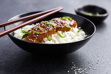 teriyaki salmon and  rice
