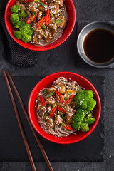 soba noodle with teriyaki chicken and broccoli