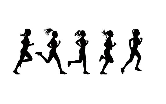 Set of women's running action silhouettes.
