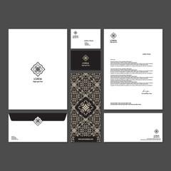 Branding identity template corporate company design. Set - business card, brochure, letter, envelope, poster, leaflet for hotel, resort, spa, luxury premium floral logo.