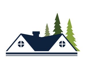 blue roof house icon