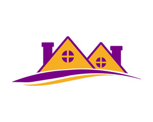 purple roof house icon