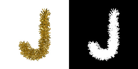 Letter J Christmas Tinsel with Alpha Mask Channel for Clipping - 3D Illustration