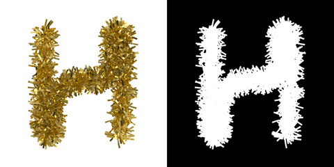 Letter H Christmas Tinsel with Alpha Mask Channel for Clipping - 3D Illustration