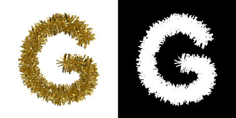 Letter G Christmas Tinsel with Alpha Mask Channel for Clipping - 3D Illustration