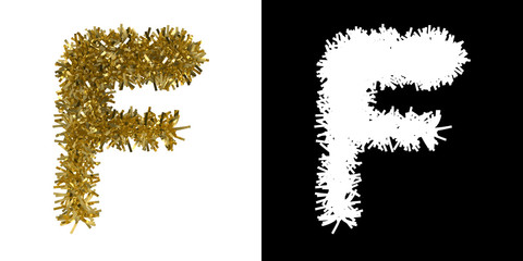 Letter F Christmas Tinsel with Alpha Mask Channel for Clipping - 3D Illustration