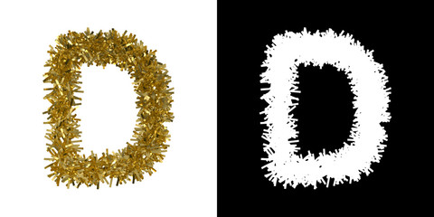 Letter D Christmas Tinsel with Alpha Mask Channel for Clipping - 3D Illustration