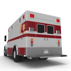 Rear view Emergency ambulance car isolated on white. 3D Illustration